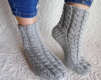 Rustic womens socks, Grey rustic socks, Gray women socks, bed socks, rustic wool socks, knit wool socks, cable knit socks, socks womens.