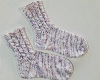 Hand knit pink white women socks, cable knit socks, women knit socks, warm socks, bed socks, slipper socks.