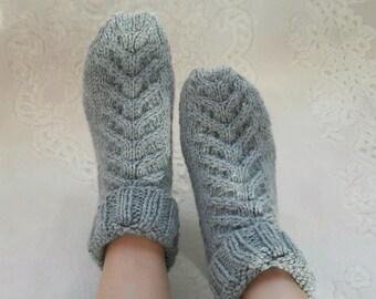 Rustic womens socks, cable knit socks, bed socks , rustic socks, warm socks,  Gray knit socks, cozy socks, rustic style hand knit socks.