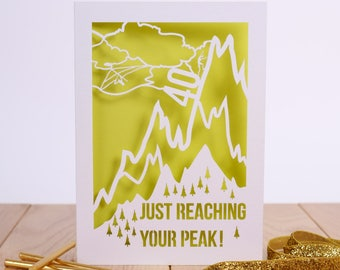 Reaching Your Peak Laser Cut 40th Birthday Card Mountain Rock Climbing