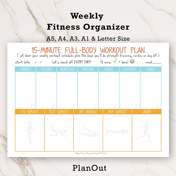 fitness challenge fitness inserts fitness log workout etsy