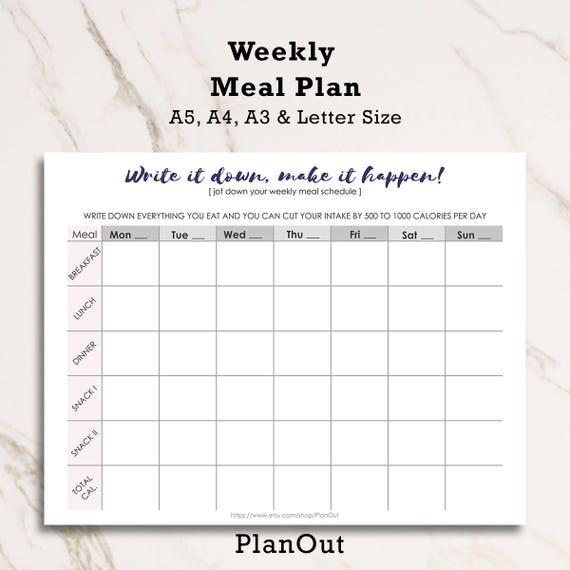 food journal food tracker food diary menu planner food etsy