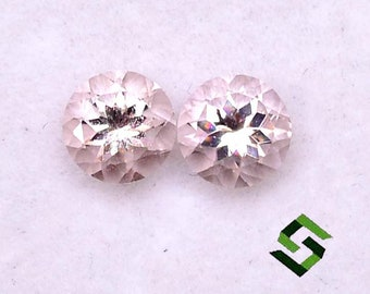 GTG-MOR-52 Morganite Round Shape 6.50 x 4 mm /& 6.5 x 4.40 mm Matching Pair Approximately 1.92 Carat