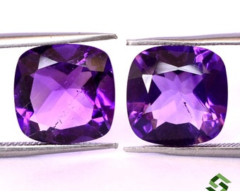 11x11 mm Certified Natural Amethyst Cushion Checker Cut Pair 8.58 Cts African Top Deep Purple Shade Loose Gemstones