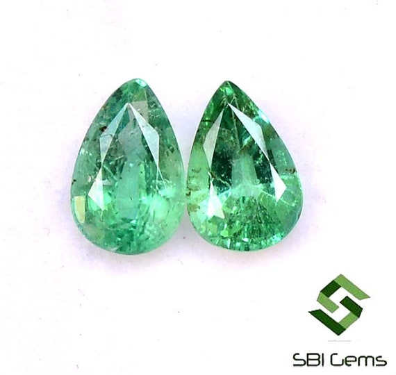 7x5 mm Natural Emerald Pear Cut 8.28 Cts Lot 13 Pcs Certified Untreated Faceted Loose Gemstones