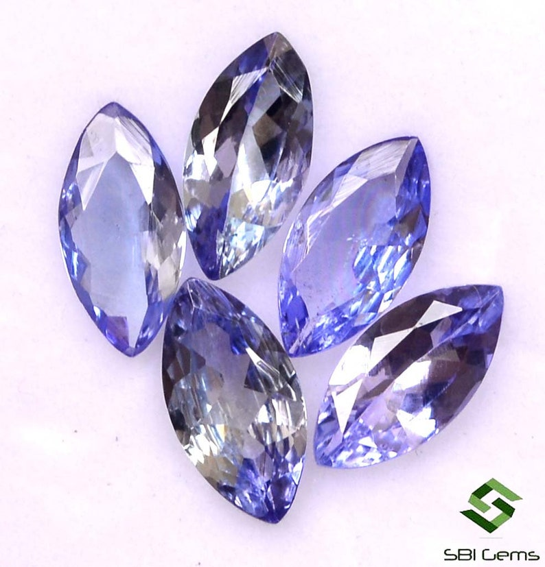 8x4 mm Certified Natural Tanzanite Marquise Cut Lot 05 Pcs 2.21 Cts Lustrous Faceted Loose Gemstones
