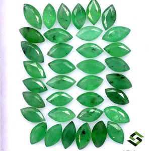 4.50x2.50 mm Natural Emerald Marquise Cut Lot 38 Pcs 4.16 Cts Deep Green Shade Faceted Loose Gemstones