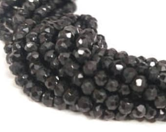 13 Inch Black Spinel Faceted Rondelle Beads Strand 3-3.5mm - Natural Spinel Beads - Black Spinel Wholesale Beads - Black Bead - Black Spinel