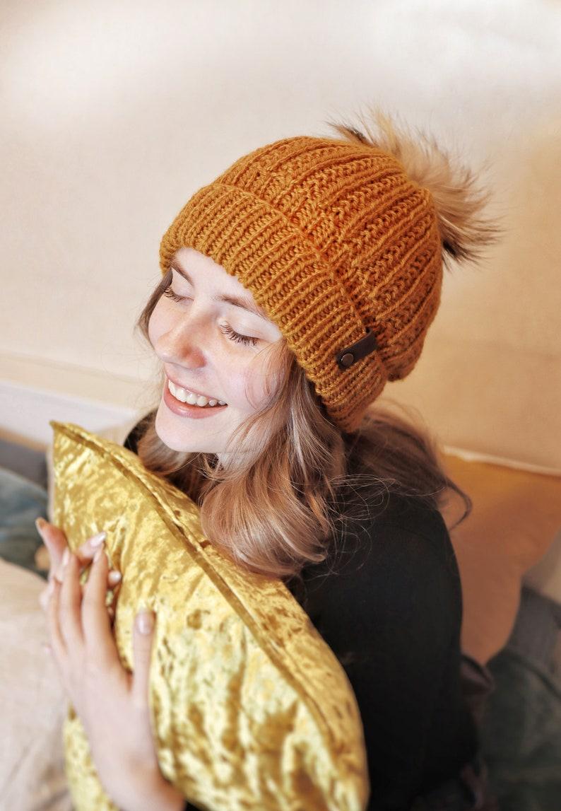 73d381cf Knitted Merino Women Hat Rusty Crochet Beanie Fur pompon | Etsy