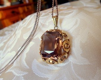 Smoky quartz pendant etsy huge vintage genuine smoky quartz pendant beautifully faceted set in ornate 14k gold scrollwork from the 50ties aloadofball Image collections