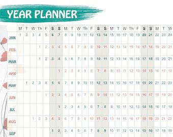 2018 Wall Year Planner poppy design