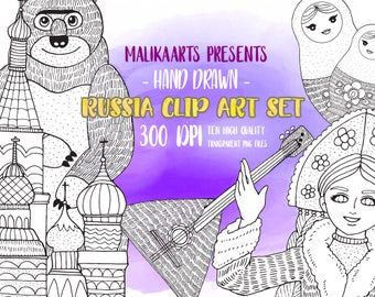Russia clipart / Hand Drawn Clipart / girls clipart / matryoshka clipart / kremlin clipart / Bear clipart / Digital Download / PNG file