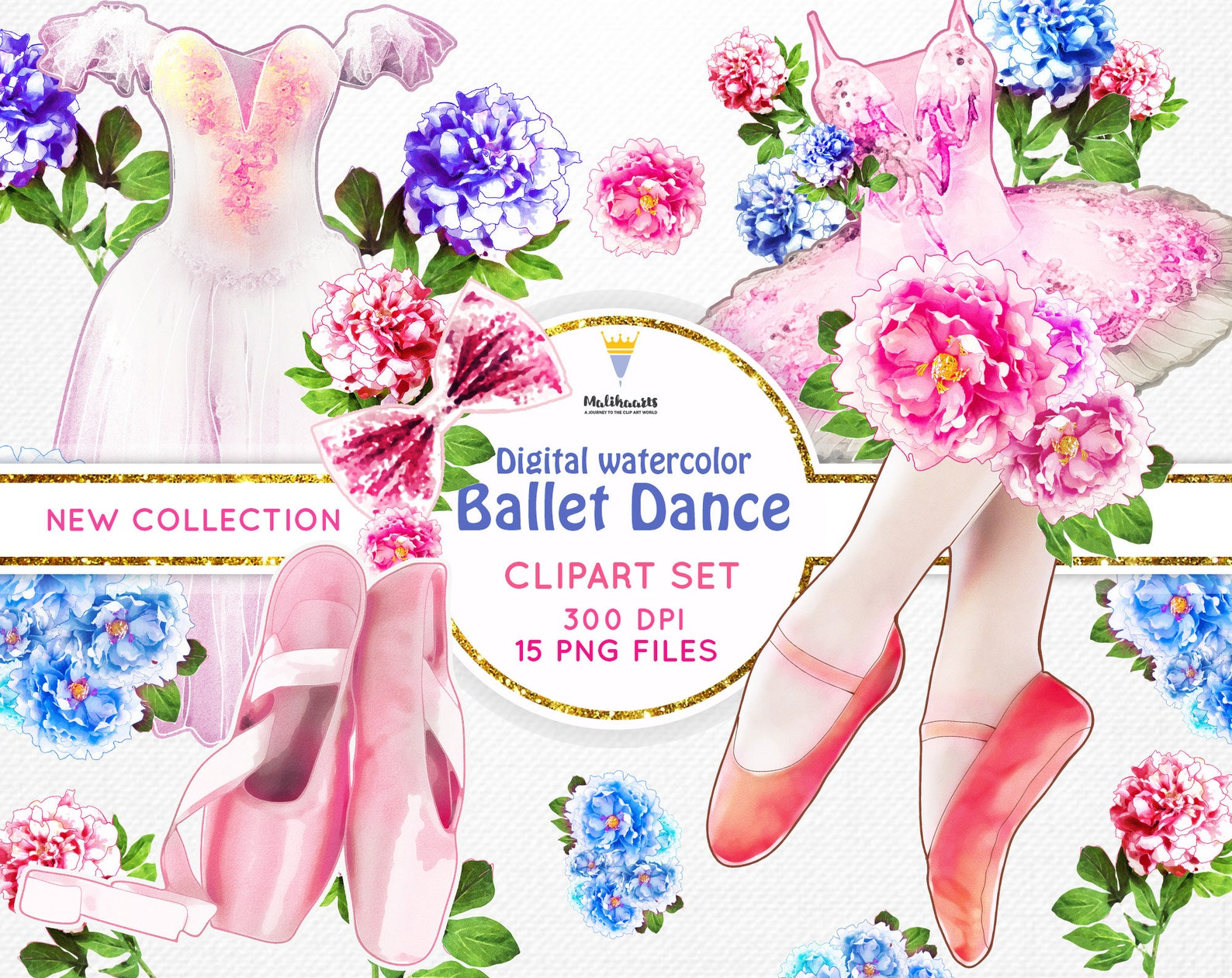 ballerina clipart, ballet clipart, watercolor ballet shoes, tutu dress, bridal shower, wedding invitation, romantic, roses peoni
