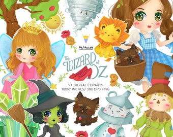 Wizard of Oz Clipart, Dorothy Clipart, Tin Man, Scarecrow, Cowardly Lion, Glenda, Wicked witch, emerald city, Fairytale clipart, 30 PNG