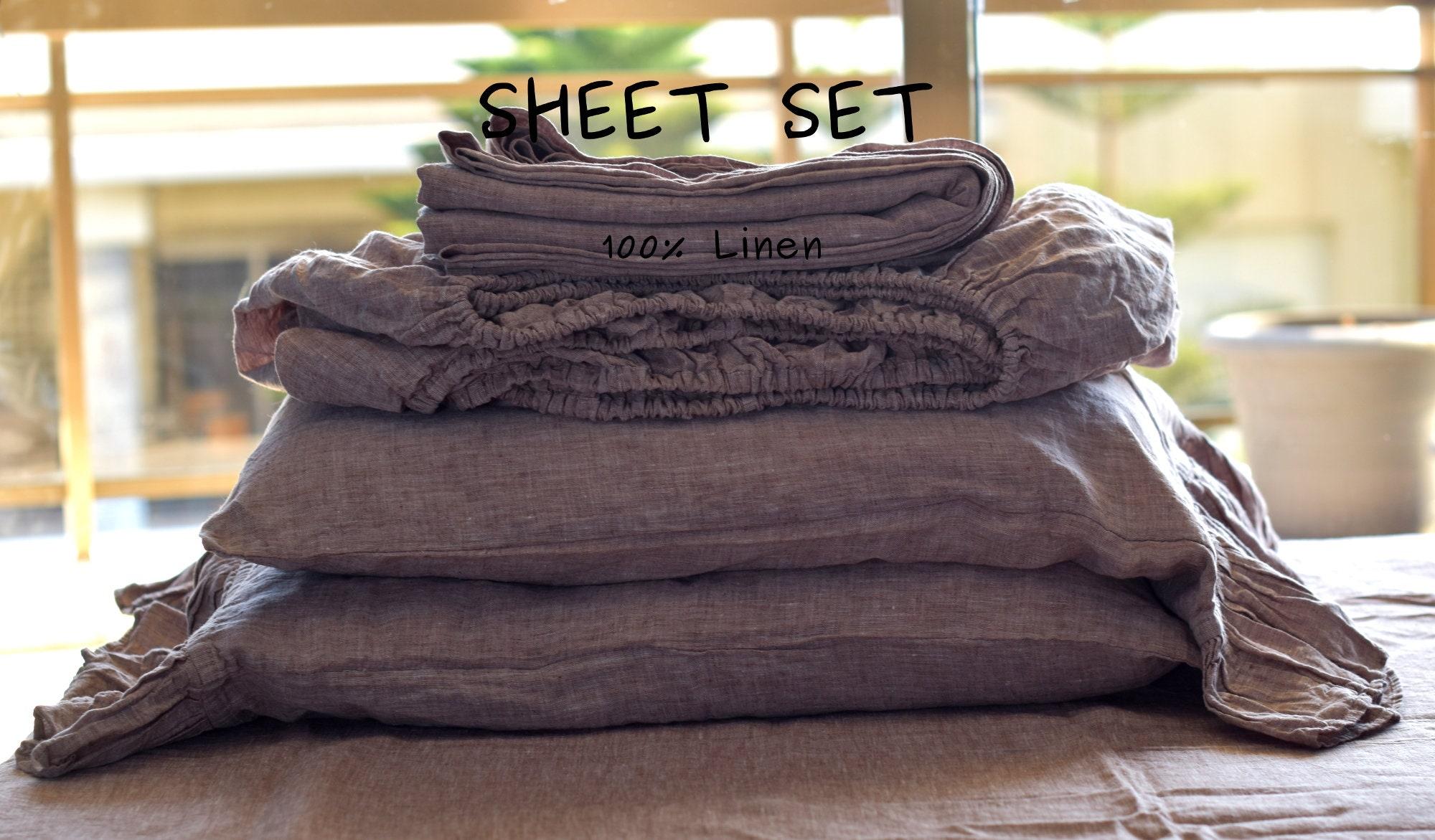 Linen SHEET SET / linen sheet set / bedding set queen king 100% linen / linen bedding sheet set/ linen shabby chic bedding / farmhouse