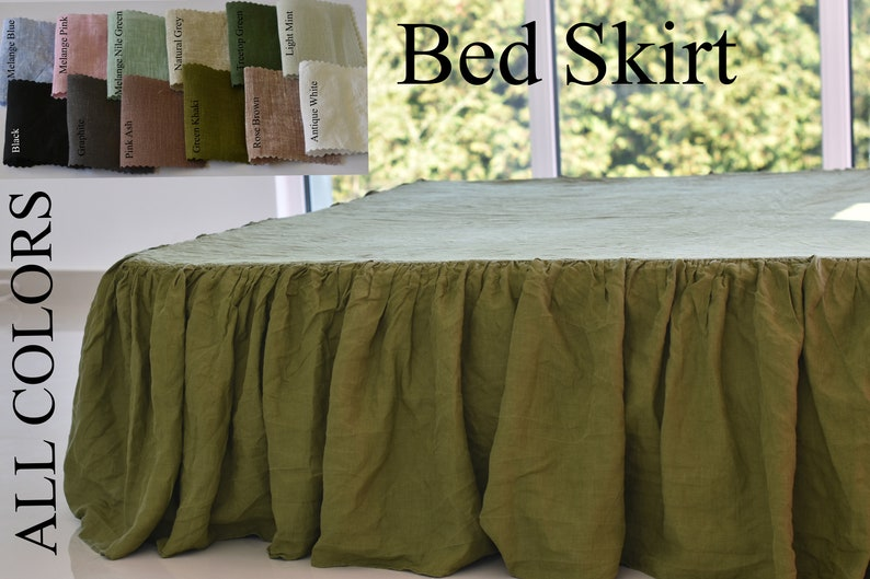 Shabby washed pure Flax Linen BED SKIRT dust ruffle WHITE Queen King Twin flax