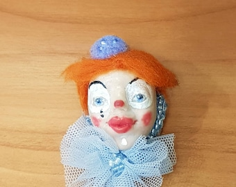 Brooch vintage Handmade decoration OOAK miniature doll(2,3 inc)Clown mask brooch Custom Doll Posable Art Doll OOAK Doll Polimer brooch