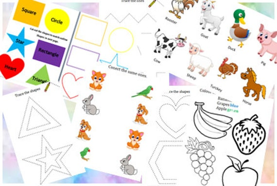 2 4 Year Old Learning Workbook Pdf Learning Worksheets 28 Etsy