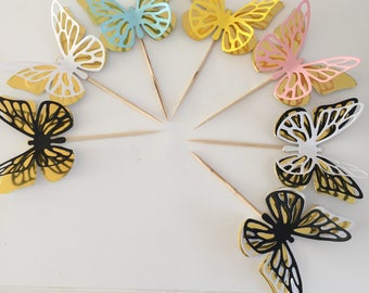 Cupcake Toppers ,Party Picks, Food Picks, Table Decoration. Butterfly cupcake toppers. Pretty cupcake topper. Food decoration.