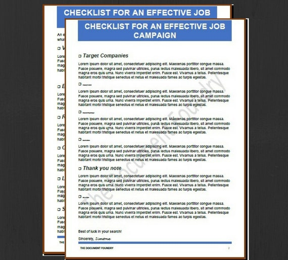 Job Search Checklist Career Resume Resume Template Instant