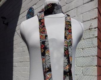 Vintage Japanese Kimono Silk Scarf - skinny