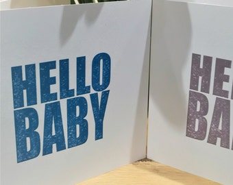Hello Baby Greetings Card - letterpress - Bright Blue - New Baby