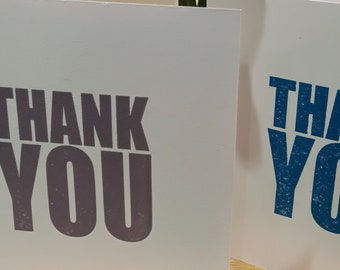 Thank You Greetings Card - letterpress - Grey - Mauve