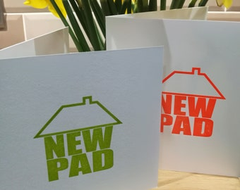 New Home Greetings Card - letterpress - grass green