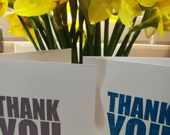 Thank You Greetings Card - letterpress - Bright Blue