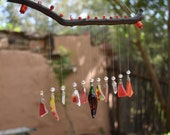 Tumbled Glass Wind chimes-sun catcher-wood-beads-Tumbled Glass-Sea glass-Red Chili Peppers-Crystals