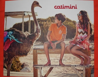 Catimini - Poster advertising Display 34x30cm - children and ostrich, kids and ostrich