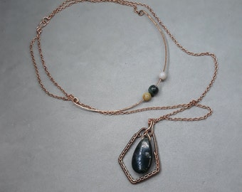 Moss Agate Layered Necklace Set - Heady Wire Wrap Pendant - Solid Copper Chain