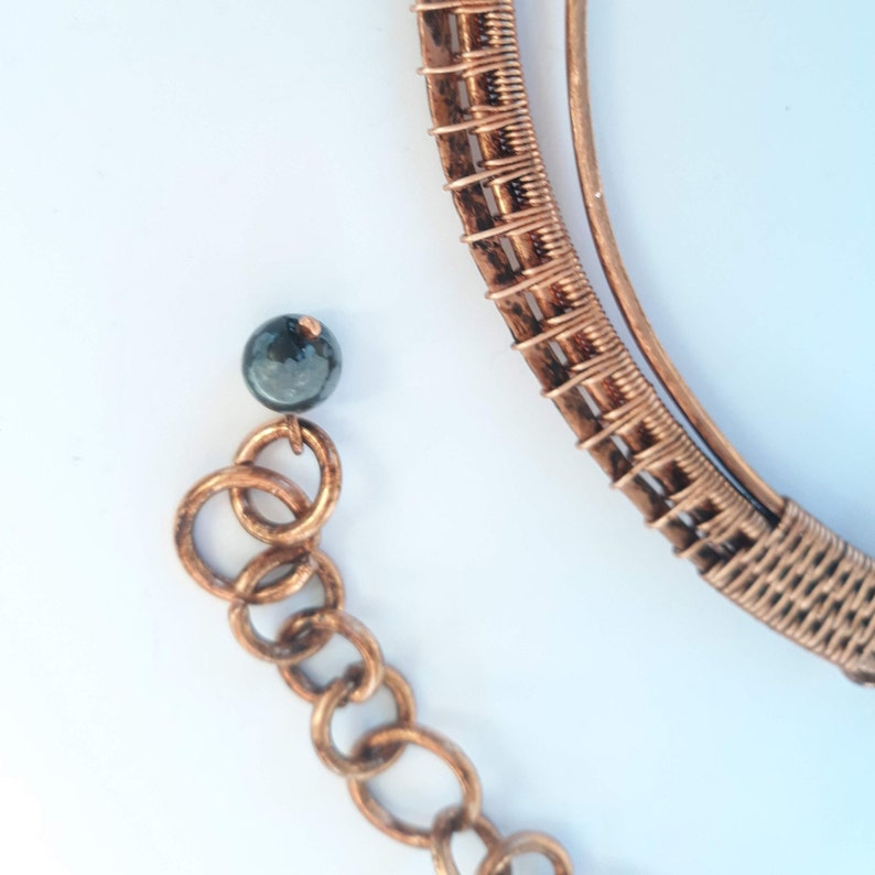 Cluster Necklace Heady Wire Wrap Egyptian Necklace Torque Necklace Labradorite Choker