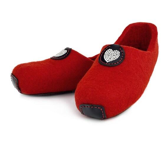50e404b462673 Lowul Dysie Swarovski personnalisé chaussons en laine feutrée ...