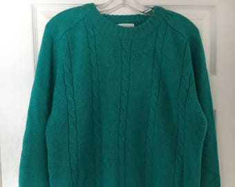 Vintage Pierre Cardin Green Wool Cable-Knit Sweater
