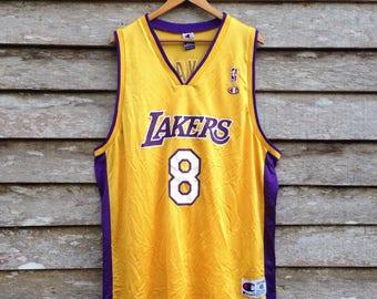 8cff42e477d Vintage Champion Basketball Jersey Los Angeles Lakers Kobe Bryant  8 unisex  XL size