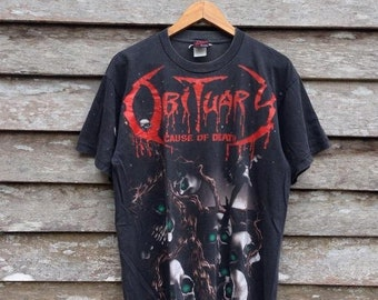 ed643a01f Vintage distress Obituary Cause Of Death Alloverprint band t-shirt medium  size