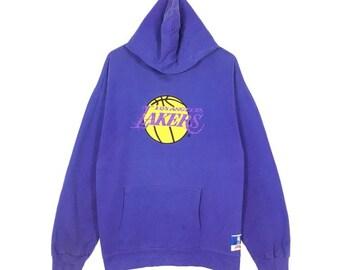 4235501476722 Vintage Los Angeles Lakers Basketball By Nutmeg Sweater Hoodie Large size
