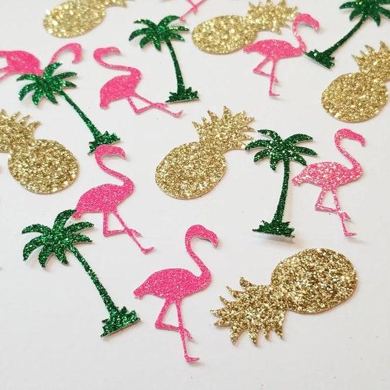 Glitter confetti,tropical confetti,palm tree confetti,pineapple,flamingo,bridal shower confetti,last flamingle cake smash,prop,table decor