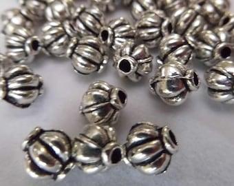 500 X 8mm Round Melon Ball Spacer Beads Silver Pumpkin Bracelet Making