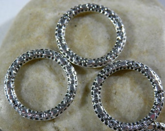 10 x Connector Rings//Linking Rings Charms Wiggly Bright Silver 22mm