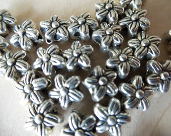 Solid 925 Sterling Silver Plum Blossom flower bead jewelry making,jewelry finding,6pcs,6x6mm carved flower spacer bead