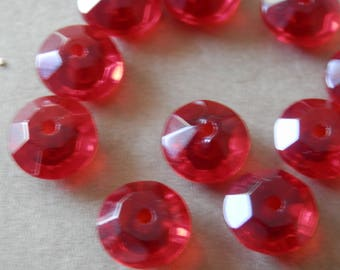 8mm Red Beads Glass Beads Rondelle Beads Spacer Beads Jewelry Making Beading Supplies DIY Supplies