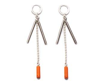 ONYX 003 Howlite, Glass and Silver Earrings