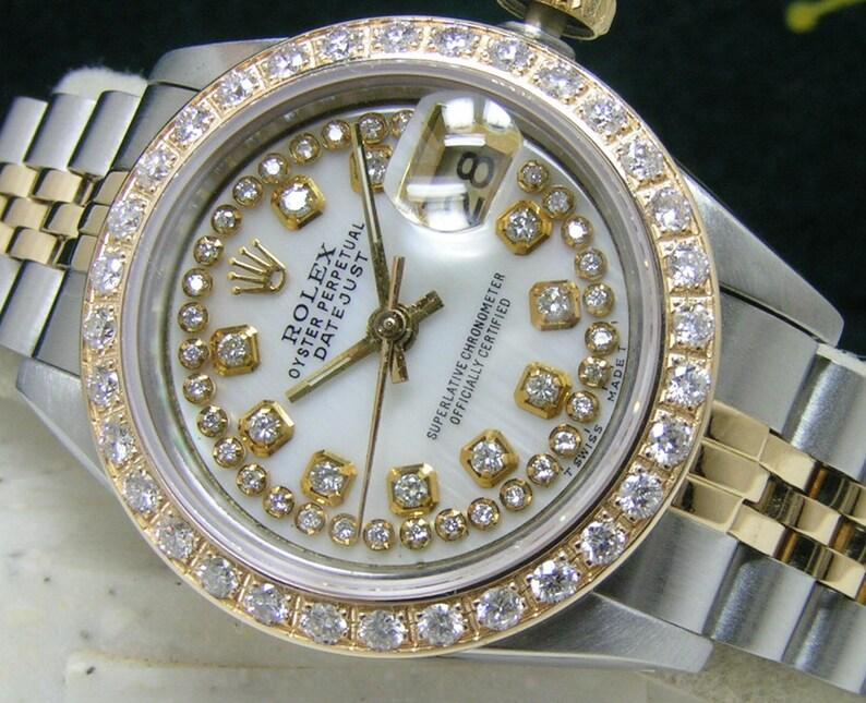 bdf44e8af0f Rolex Ladies DateJust White MOP Diamond w/ String Dial Bezel | Etsy