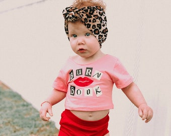 4a5d42062d69 Mean Girls Crop Top, Baby Crop Top, Pink Crop Top, Tops, Toddler Crop Top,  Handmade Clothes, Cute Baby Clothes, Red Bummies Toddler Clothing
