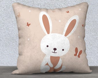 """Kids decorative throw pillow cover """"Lapino"""" pink and white Bunny with butterfly"""