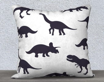 """Kids decorative pillow cover """"dinosaur"""" black and white pillow case pillow-baby-child-decor-animal nursery gift"""