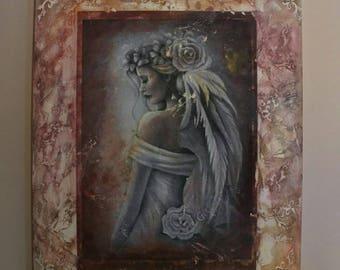 Lady Portrait, Wall Art, Mixed Media Art, Canvas