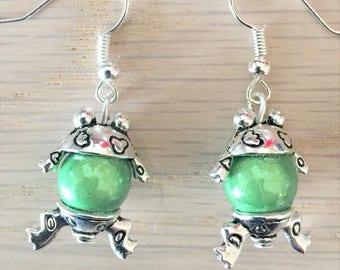Green Frog earrings